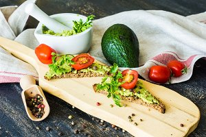 Healthy food concept with avocado