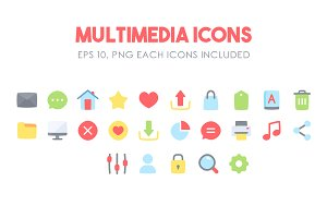 Multimedia Flat Icons