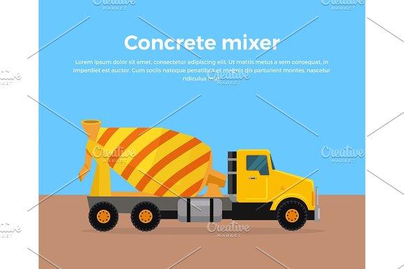 Cement Mixer Truck Banner Flat Design Vector