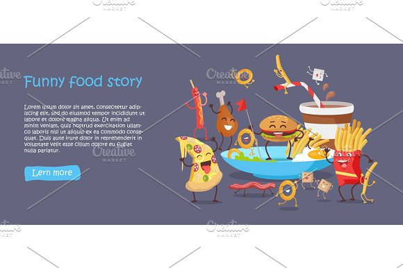 Funny Food Story Conceptual Banner Web Site Design in Illustrations