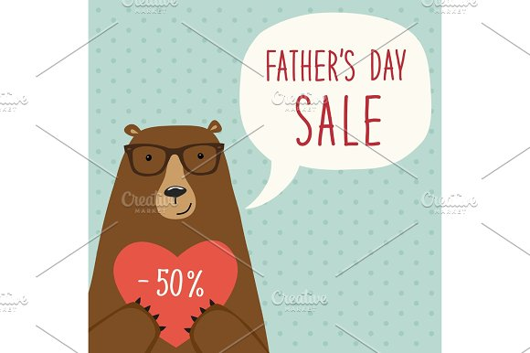 Cute Hand Drawn Father's Day Card As Funny Cartoon Character Of Bear