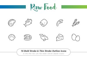 16 Raw Food Outline Stroke Icons