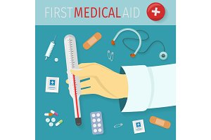 First Medical Aid Vector Concept in Flat Design