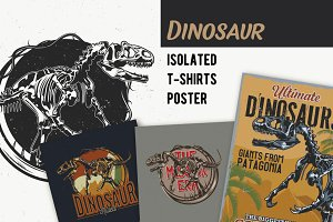Dinosaur T-shirts And Poster Labels