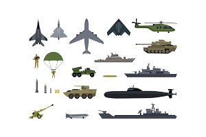 Military Resources Army Icons Set. War Ammunition