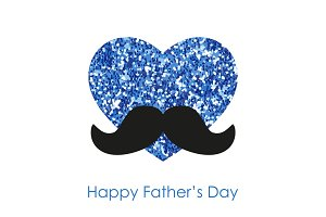 Cute Father's Day card as big glitter heart with mustache