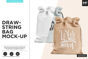 Drawstring / Burlap Jute Bag Mock-up