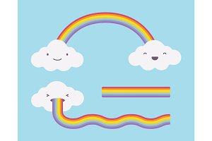 Cute white clouds on the light blue sky and rainbow