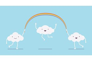 Happy cute clouds jumping a rainbow long rope
