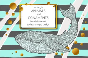 zen tangle animals and ornaments