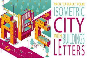 ISOMETRIC CITYwithBUILDINGS LETTERS