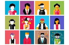 Set of stylish avatars