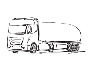Sketching truck. Delivery poster