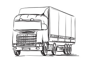 Truck sketching. Delivery. Transport