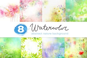 8 WATERCOLOR NATURE BACKGROUNDS