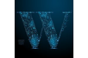 the letter W low poly blue