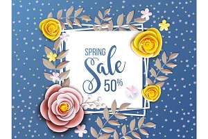 Spring sale background with flower.