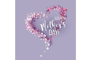 Mothers Day card with pink flowers heart shaped