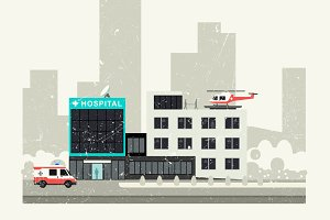 Hospital grunge illustration.