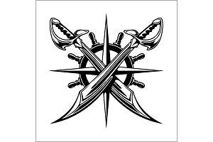 Pirates emblem - steering wheel and crossed swords or sabers.