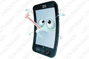 Cartoon broken mobile phone