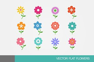 Colorful Vector Flat Flowers