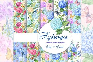 hydrangea watercolor patterns