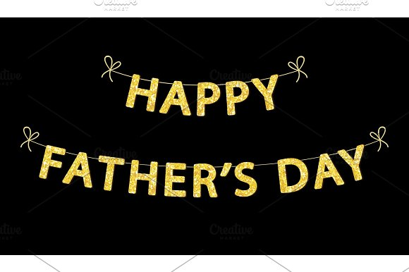 Cute Fathers Day Card With Golden Glitter Letters Graphic Objects