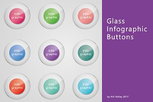 Glass infographic button in 88 color