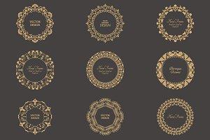Monogram floral vector frames