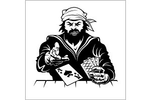 Pirat with playing cards. Vintage stylized drawing.