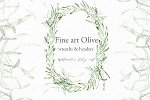 Olive oval wreaths & headers clipart