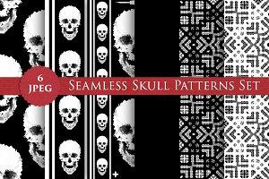 FULL SKULL seamless patterns set