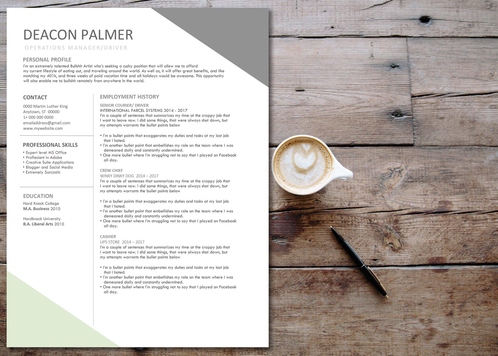 RESUME TEMPLATE - ANGLES ~ Resume Templates ~ Creative Market