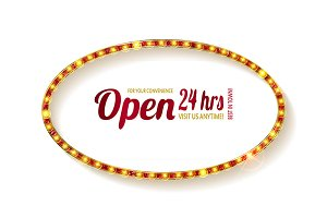Open 24 hours oval glow sign.