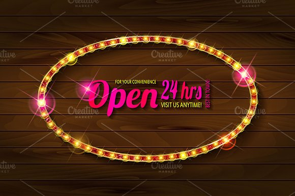 Open 24 Hours Oval Glow Sign