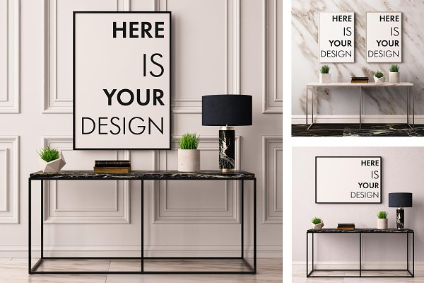 Mock up poster with a console table