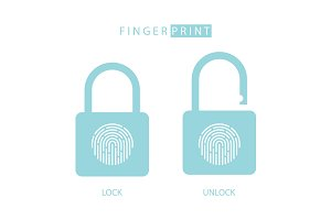 Padlock with fingerprint touch ID.