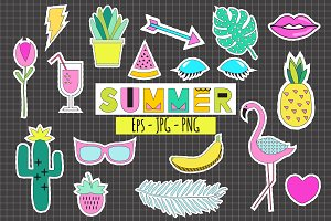 Summer Stickers Vector+ Png+Planner