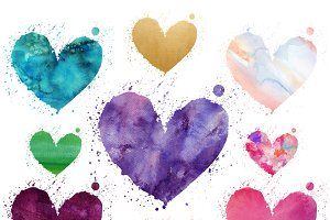 Watercolor Heart Clipart Set