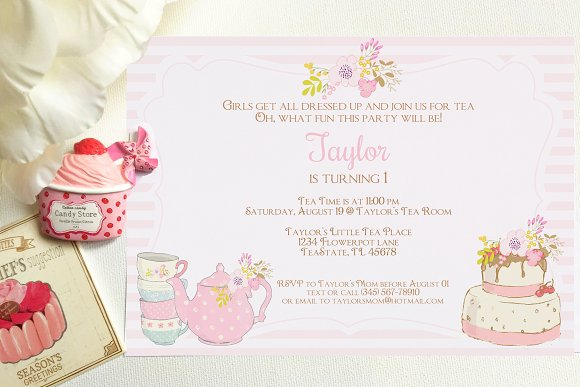 Tea Party Invitation Templates Creative Market