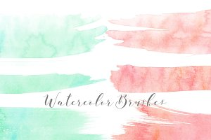 Watercolor Brush Clipart Peach Aqua