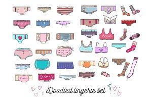Doodled lingerie set