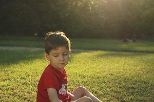 sad child in the field