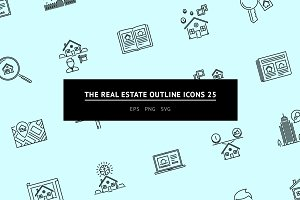 The Real Estate Outline Icons 25