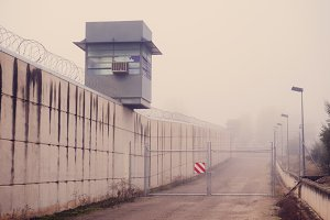 Prison tower and fog