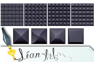 4 seamless black mosaic backgrounds