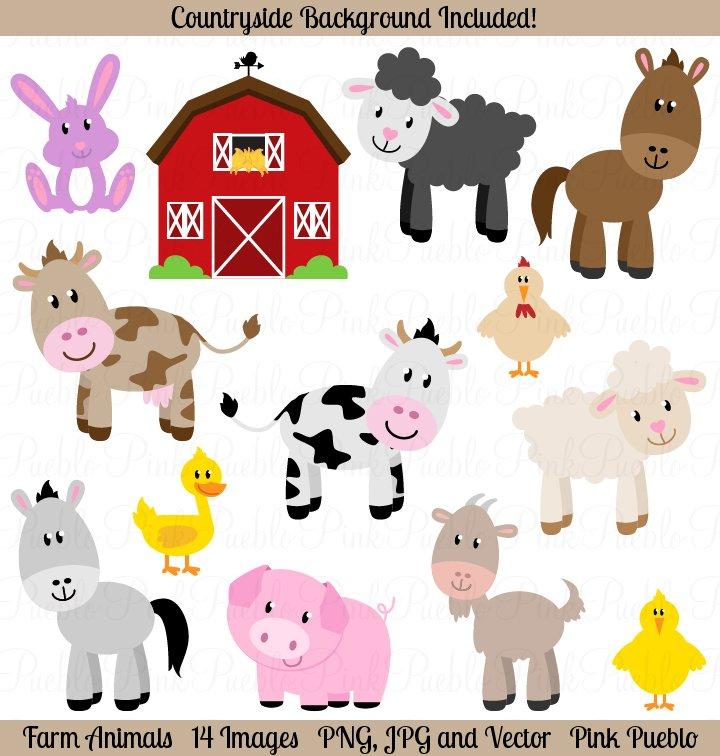 Farm Animals Vectors and Clipart ~ Illustrations ...Clip Art Pictures Of Farm Animals