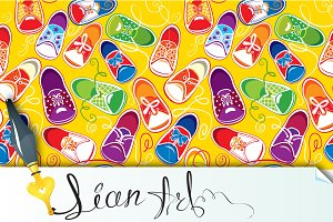 seamless pattern - children gumshoes