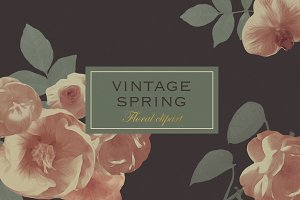Vintage spring real flower clipart